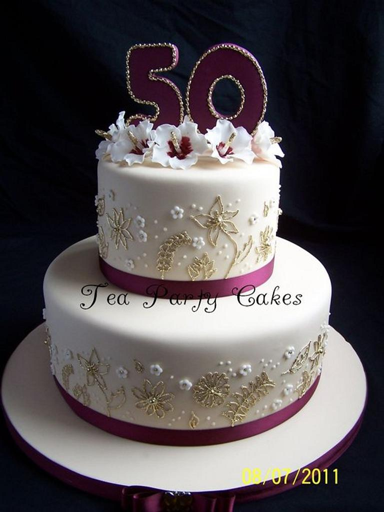 Golden Anniversary by Tea Party Cakes