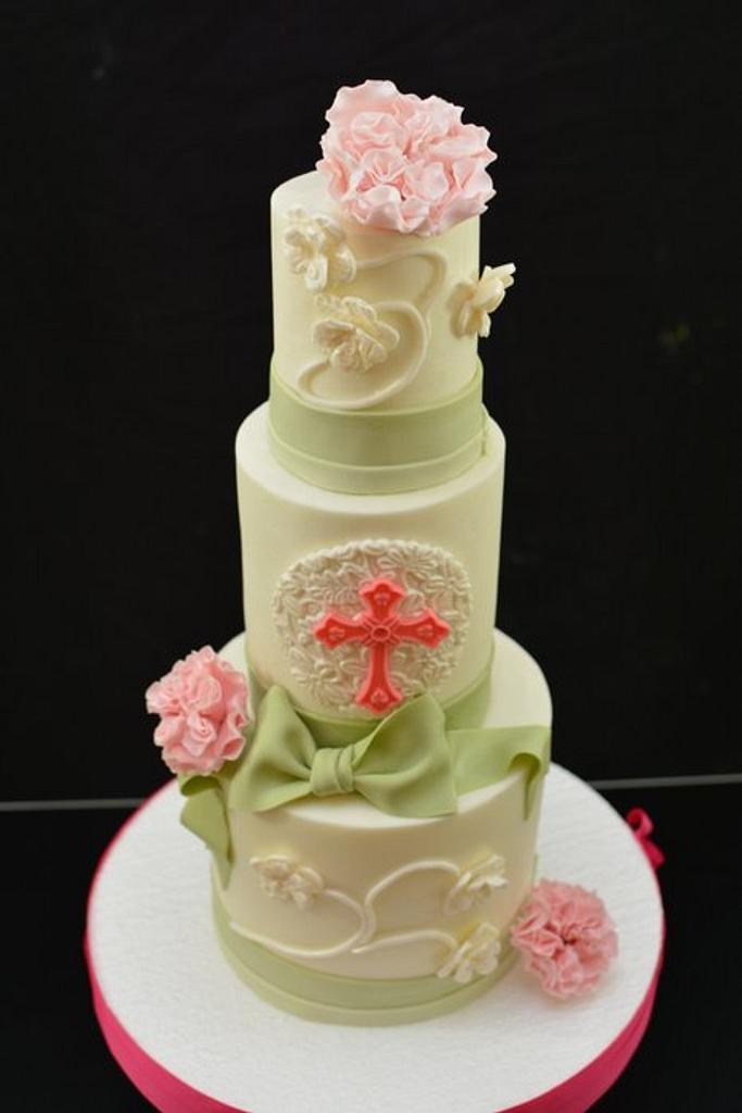 Pink and Sage Christening Cake by Sugarpixy