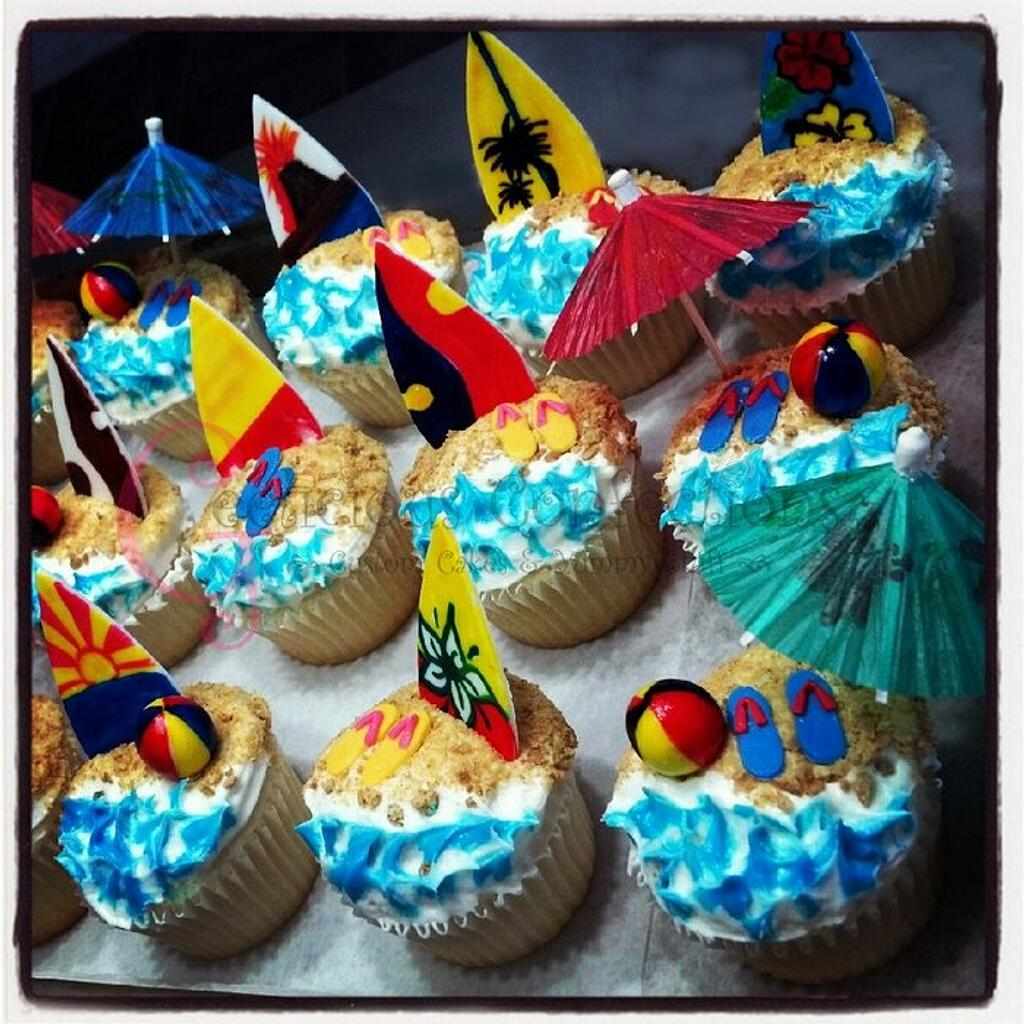 Beach themed cupcakes by Geelicious Confections