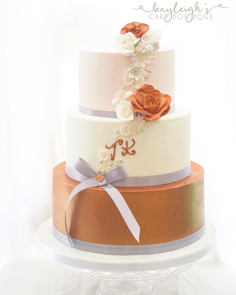 Copper wedding cake by Kayleigh's cake boutique