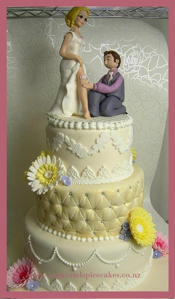 Vintage Lace Wedding Cake with Gerberas - with personalised Bride and Groom topper  by Mel_SugarandSpiceCakes