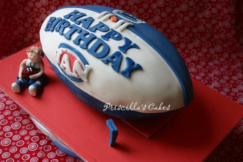Footy cake by Priscilla's Cakes