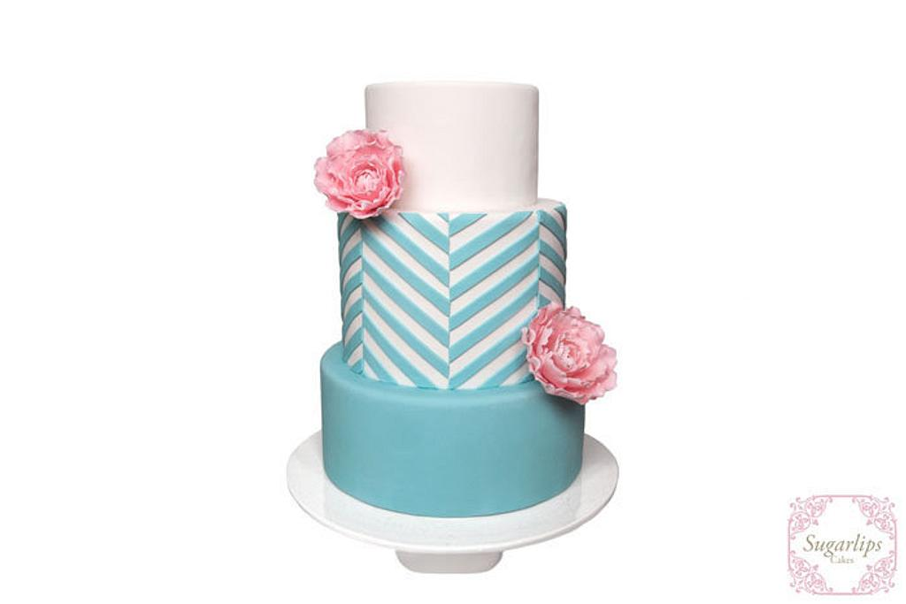 Chevron and Peonies by Sugarlips Cakes