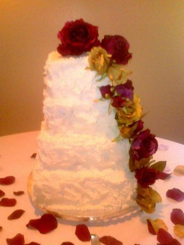 Four Tier Square Wedding Cake with Cascading Flowers by cakediva3