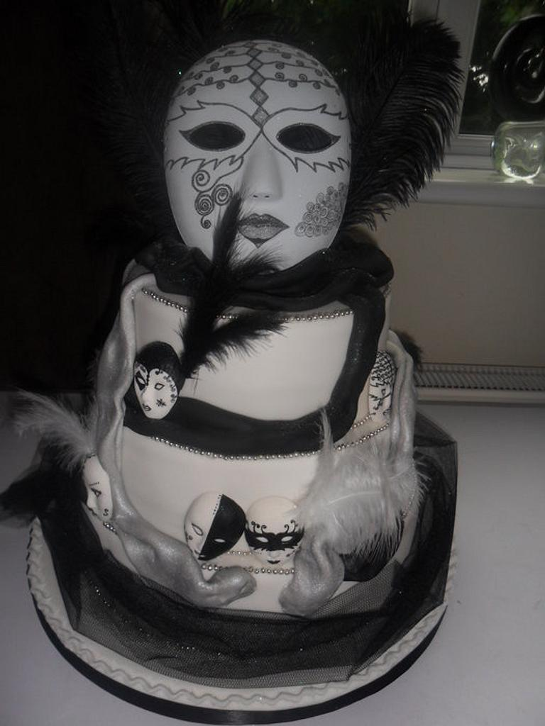 black/white harlequin masks wedding cake by elizabeth