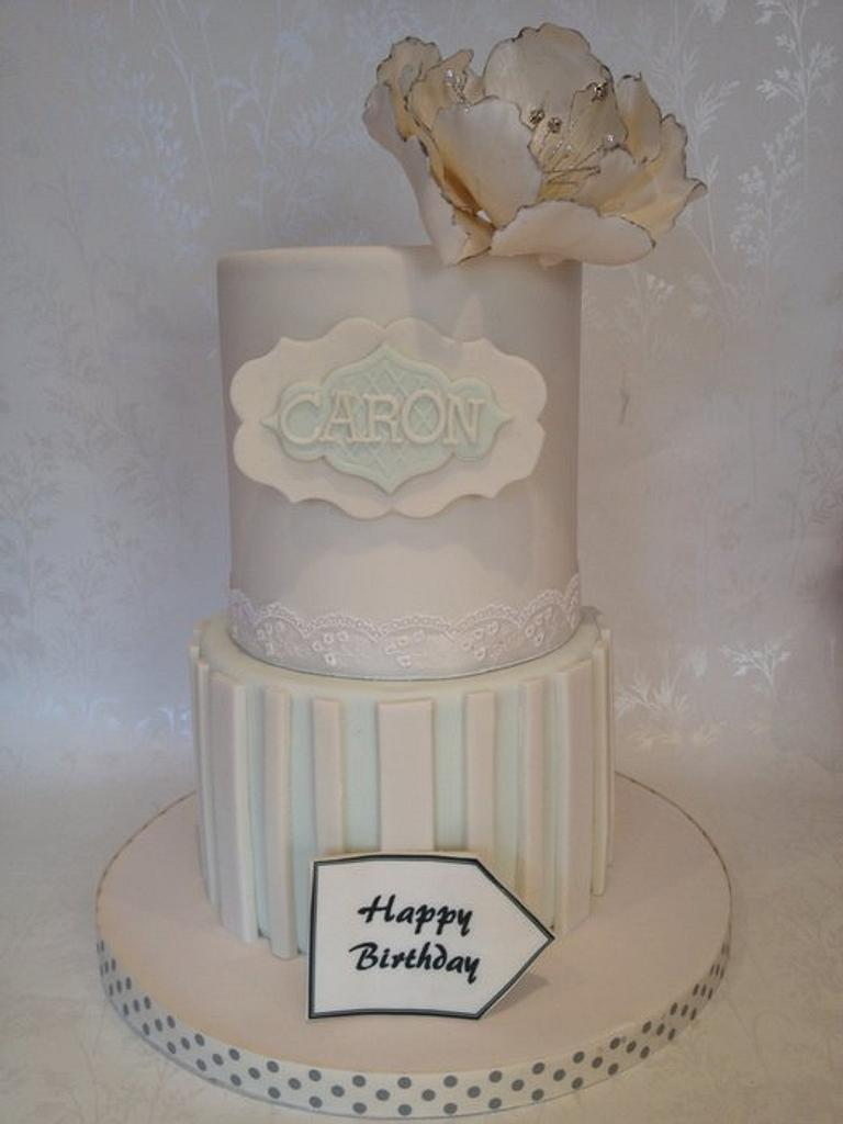 Pretty stripes and peony cake by Isabelle