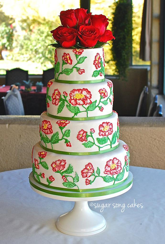 Red Garden Rose Brush Embroidery Wedding Cake by lorieleann