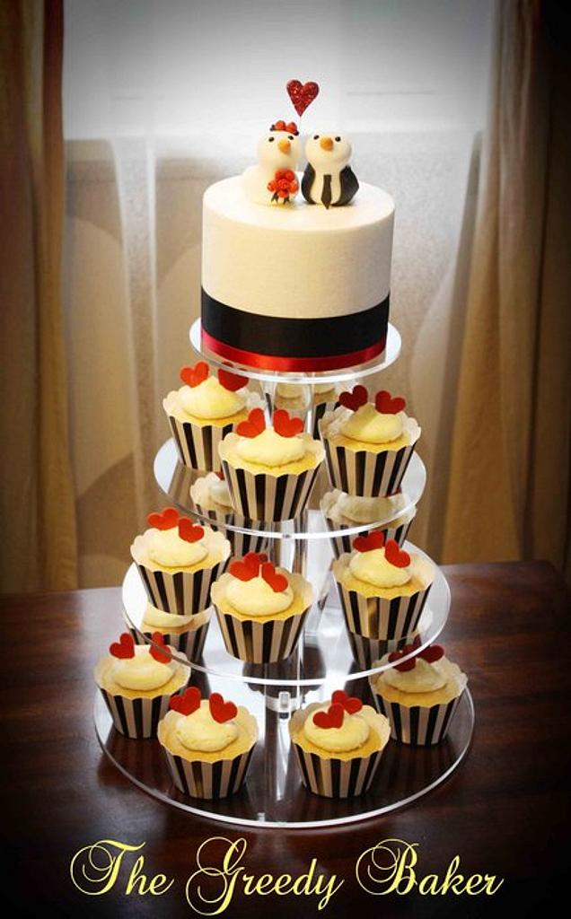 Lovebirds Cake & Cupcake Tower by Kate