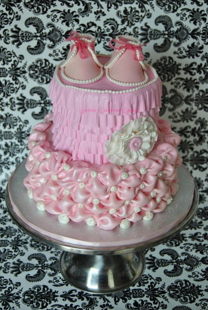 Vintage Baby Shower Cake by KarasCustomCakes
