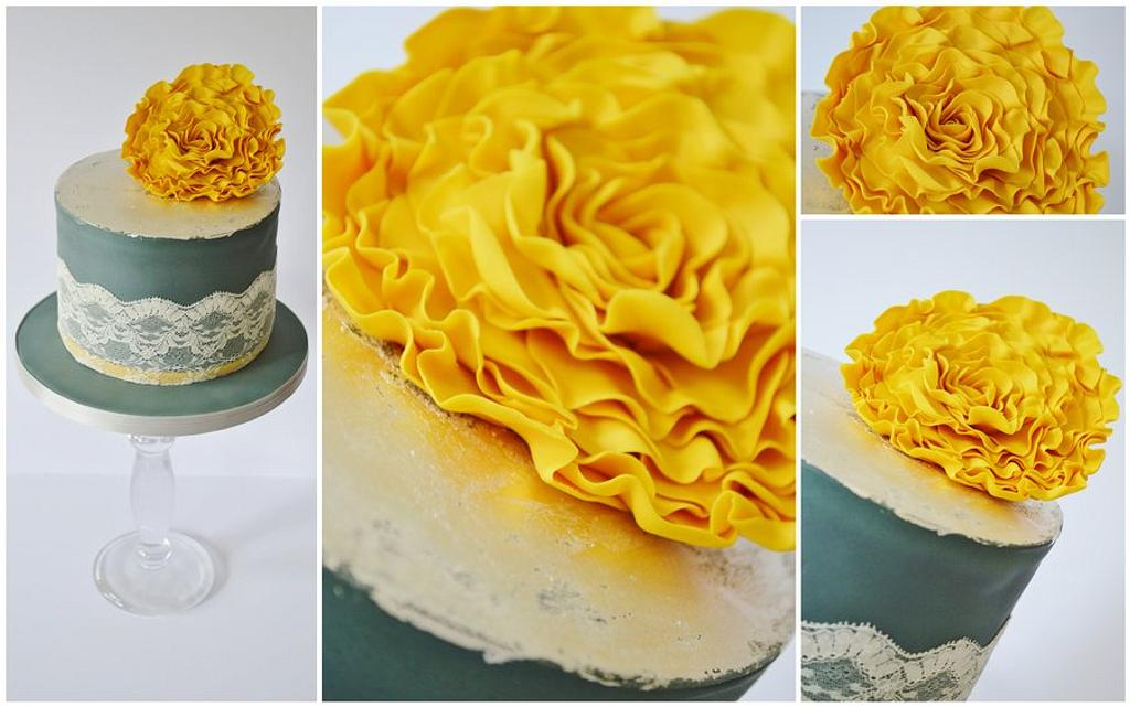 yellow and charcoal grey/gray ruffle rose silver leaf and lace cake by Krumblies Wedding Cakes