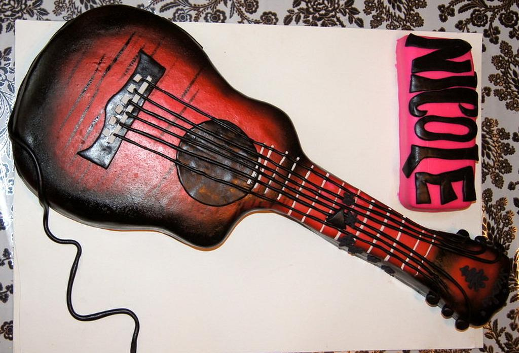 Acoustic-Electric Guitar cake by Sylvia Cake