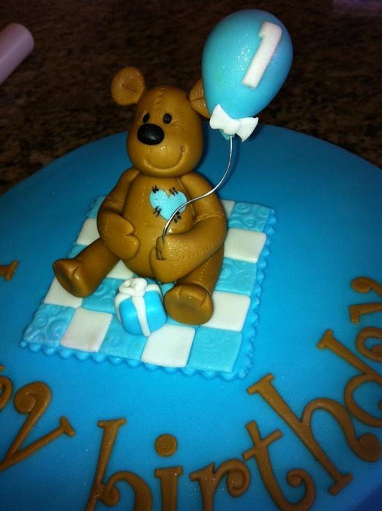 Little boy teddy bear cake by Hot Mama's Cakes