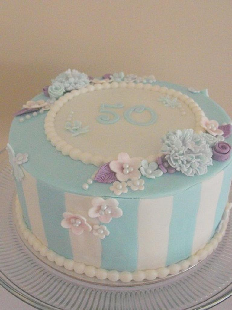 Elegance in Blue Cake by Amber