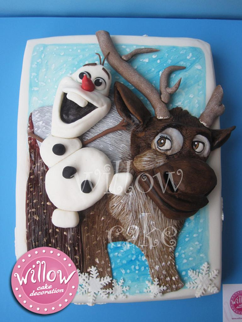 """Olaf and Sven, """"Frozen"""" cake by Willow cake decorations"""