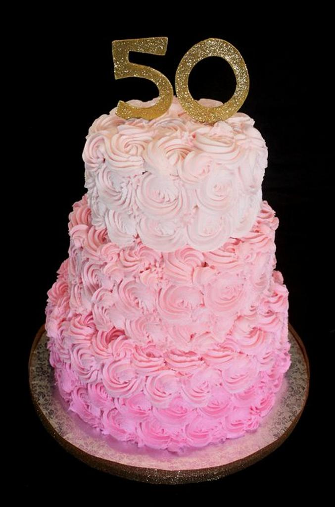 Pink Ombre Rosette Cake by Jewell Coleman
