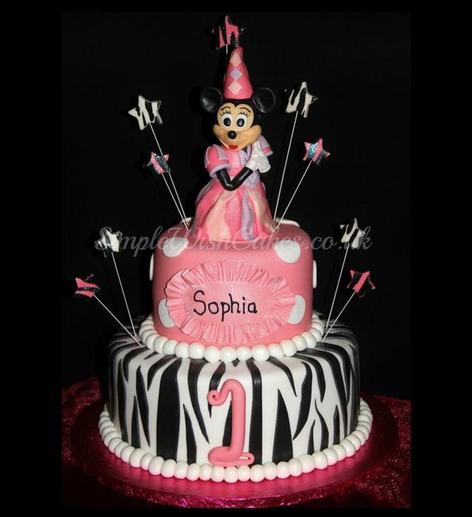 Minni Mouse 2 tier birthday cake by Stef and Carla (Simple Wish Cakes)