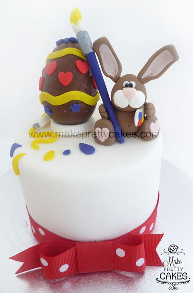 Artistic Easter bunny cake topper - cute project with my 6 year old by Make Pretty Cakes