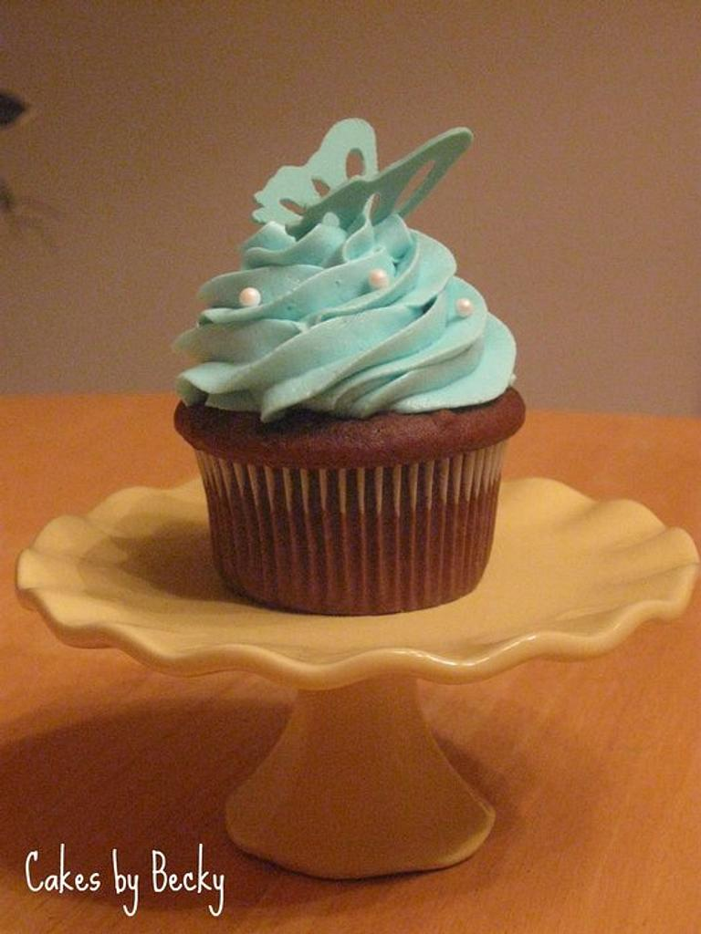 Teal Butterfly Cupcake by Becky Pendergraft