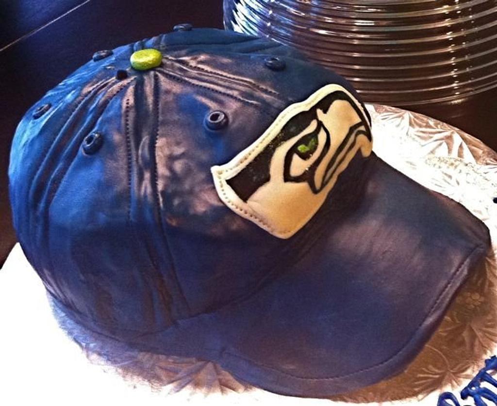 Seahawks Cap for my nephew by GrandmaTilliesBakery