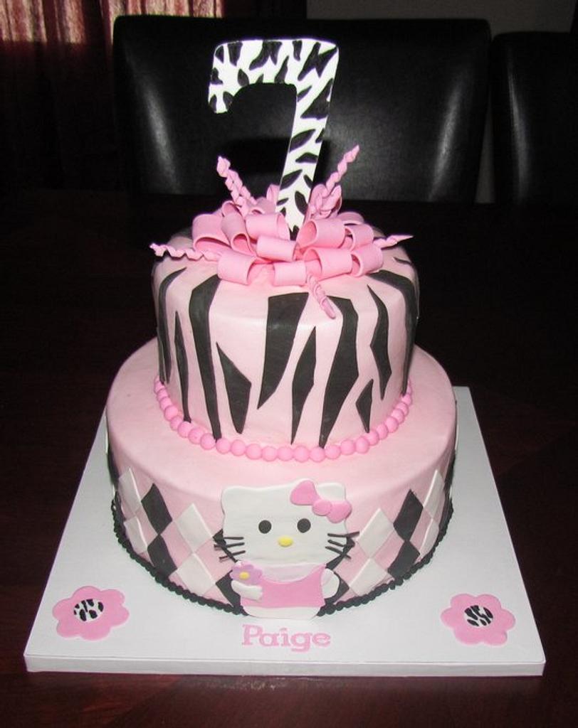 Hello Kitty + Zebra Cake by Jaybugs_Sweet_Shop