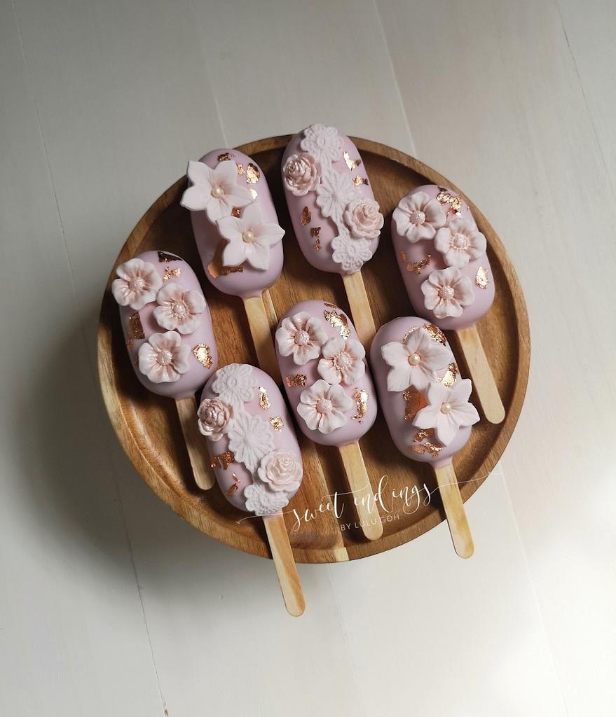 Rose Gold Floral Cakesicles by Lulu by Lulu Goh
