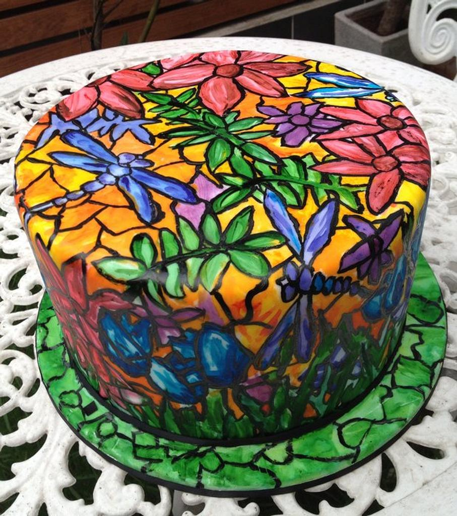 Stained Glass Dragonfly Cake by Lauren