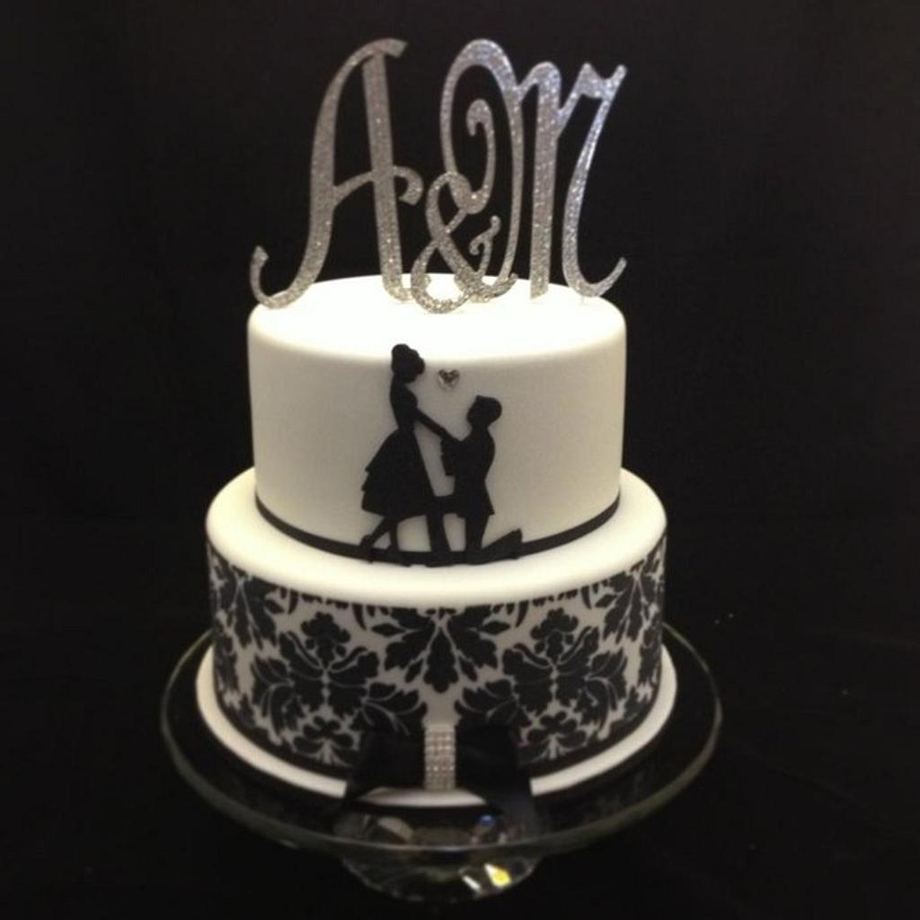 Proposal Silhouette Engagement Cake by cjsweettreats