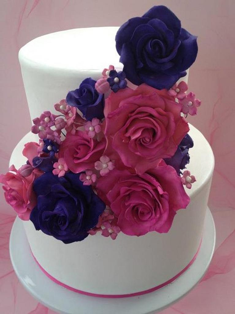 Pink & Purple Cascading Roses by BAKED
