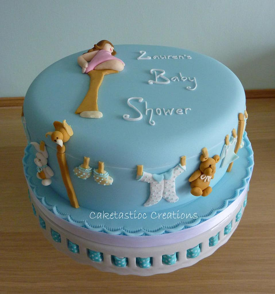 Blue baby Shower cake by Caketastic Creations