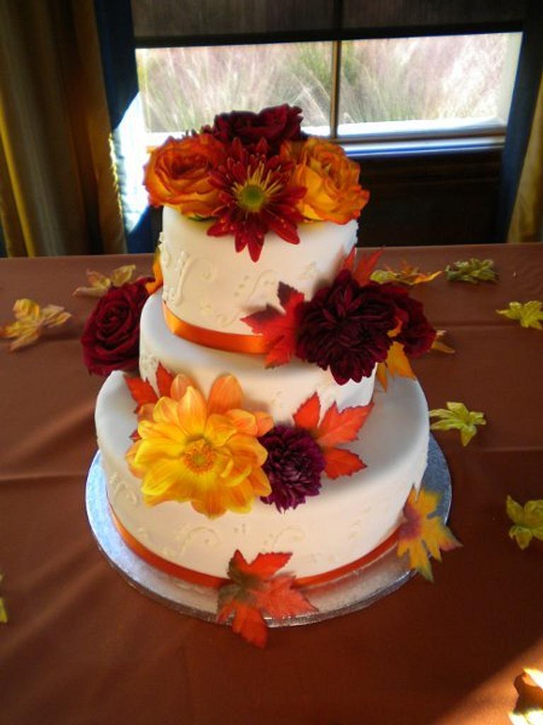 Fall Wedding cake by Blairscustomcakes