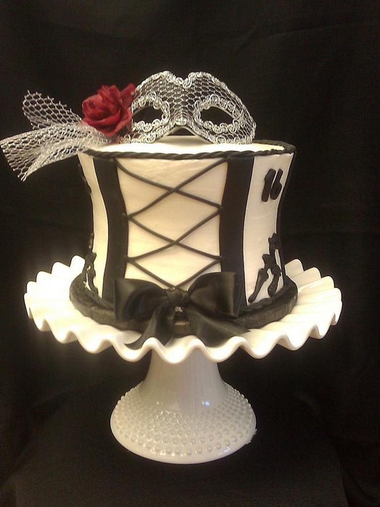 Sweet 16 Corset cake by cheryl arme
