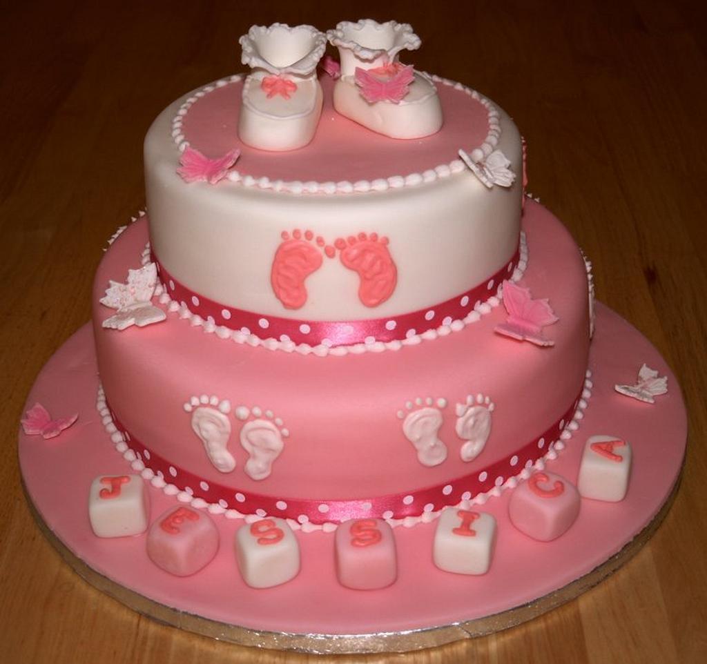 Girls Christening Cake by Sandra's cakes