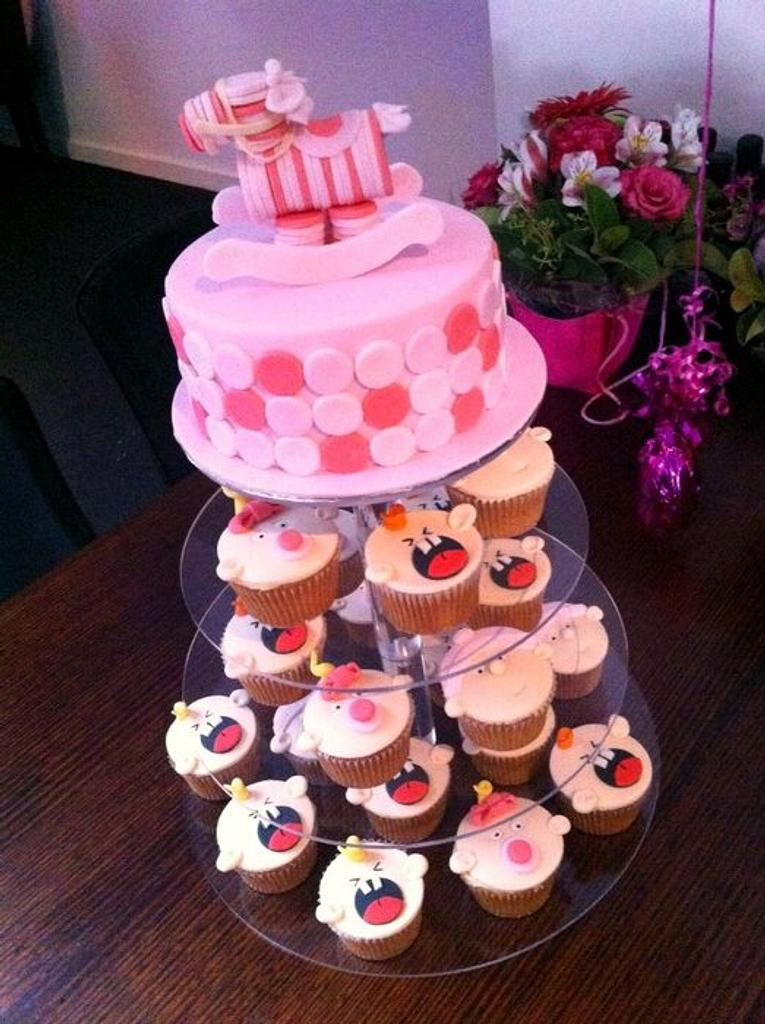 Katie's Baby Shower Cake n Cupcakes by Lydia Evans