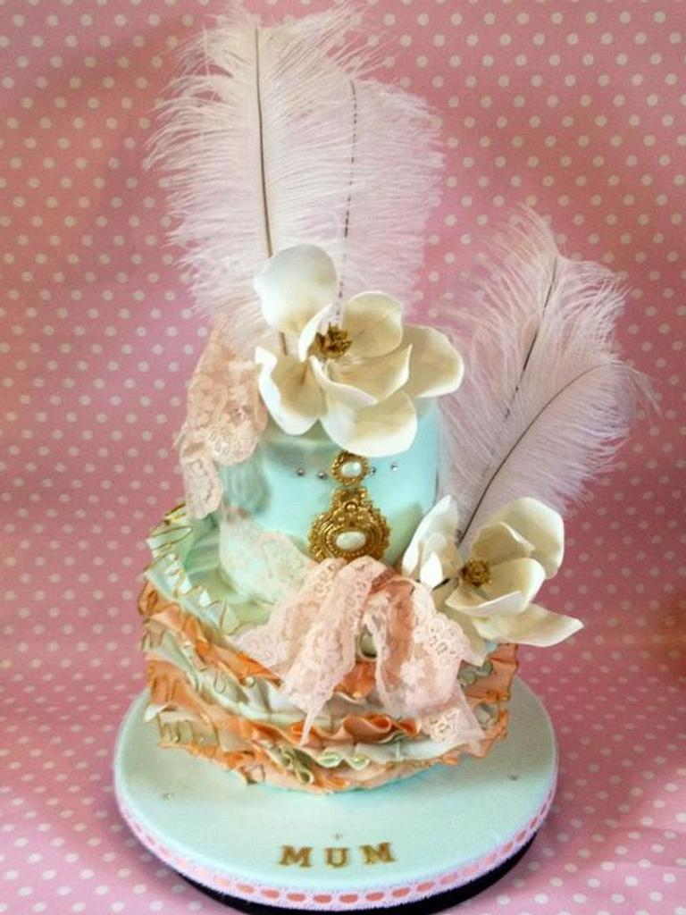 Aqua, peach and gold for a very special lady by Dee