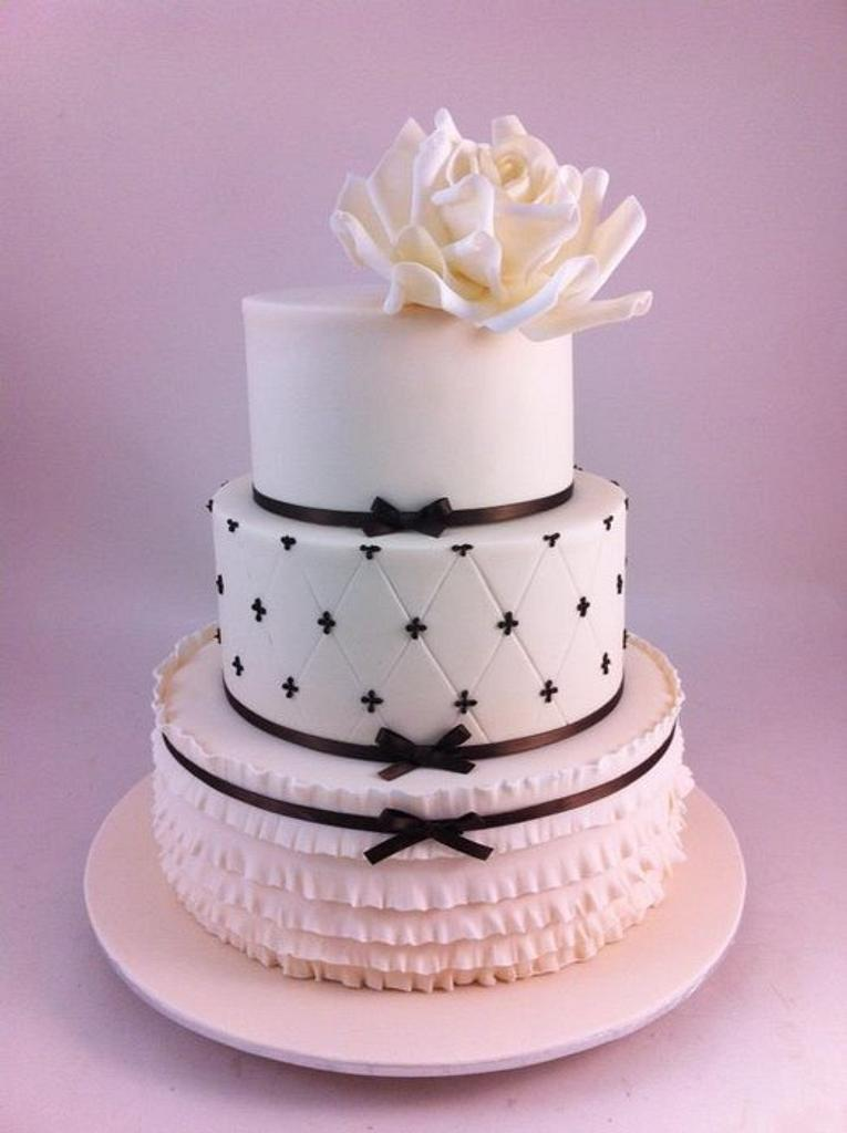 Three Tier Wedding Cake with Ruffles by Lydia Evans