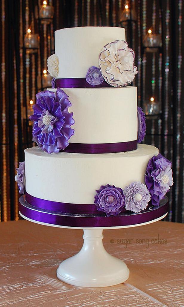 Purple Ruffle Flower Wedding Cake by lorieleann