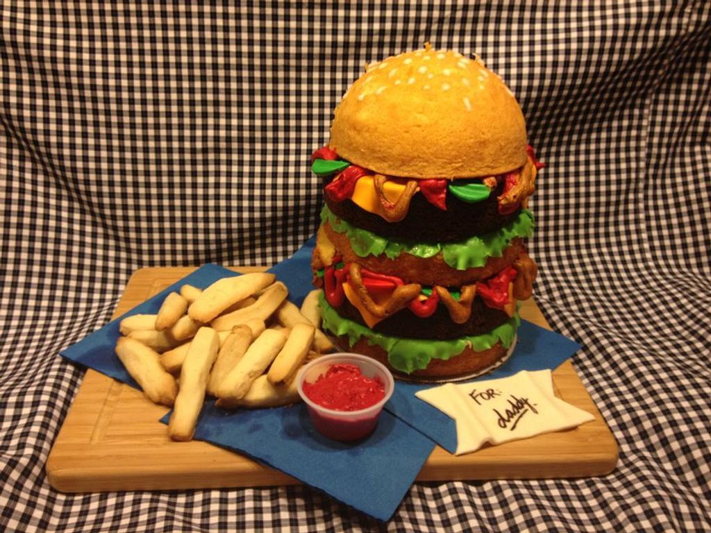 Burger cake by Lainie