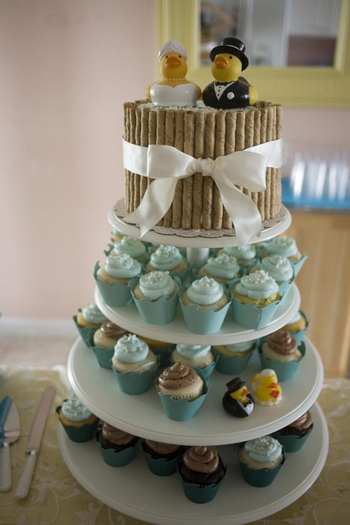 Sarah and Jakes Wedding Cake and Cookies by Kathy Kmonk