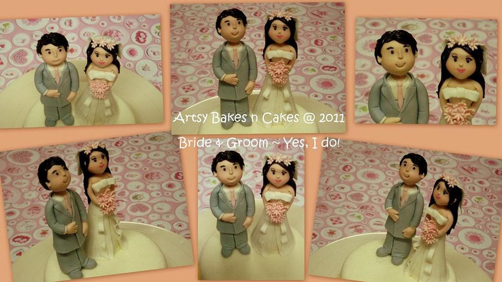 Bride & Groom Cake Topper by Joelyn Wong