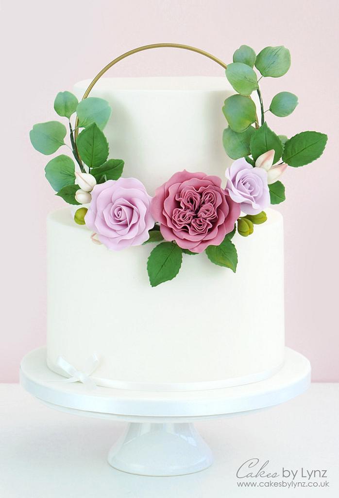 Gumpaste Flower Hoop Cake by CakesbyLynz