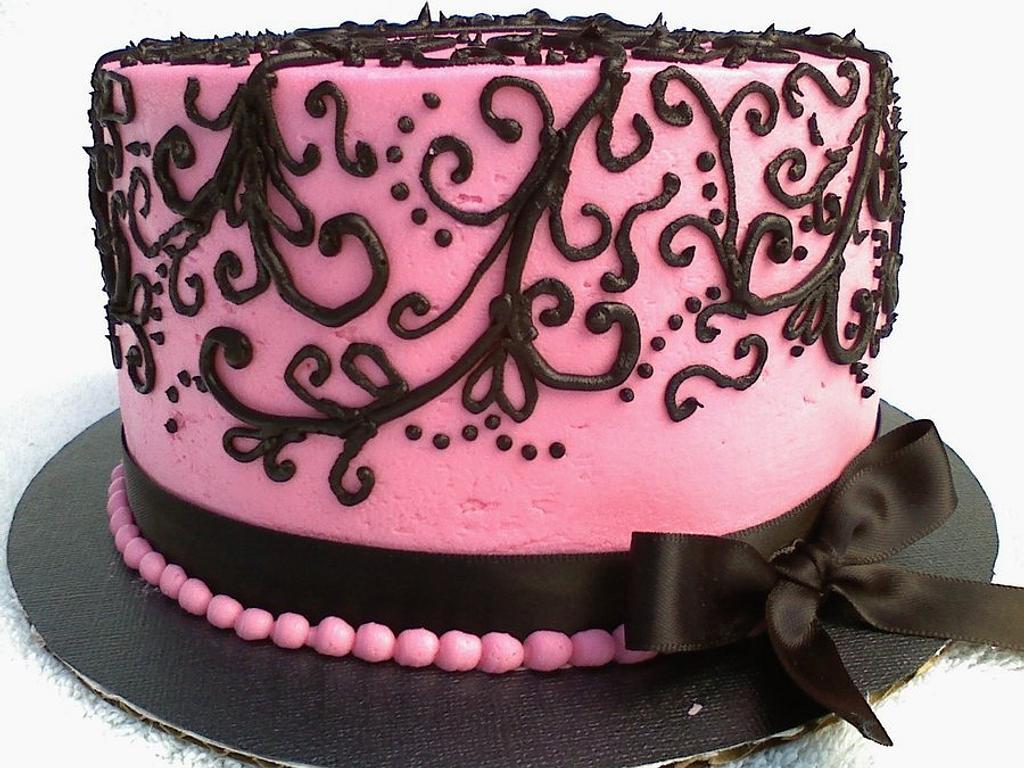 Pink/Black Scroll Cake by Kristi