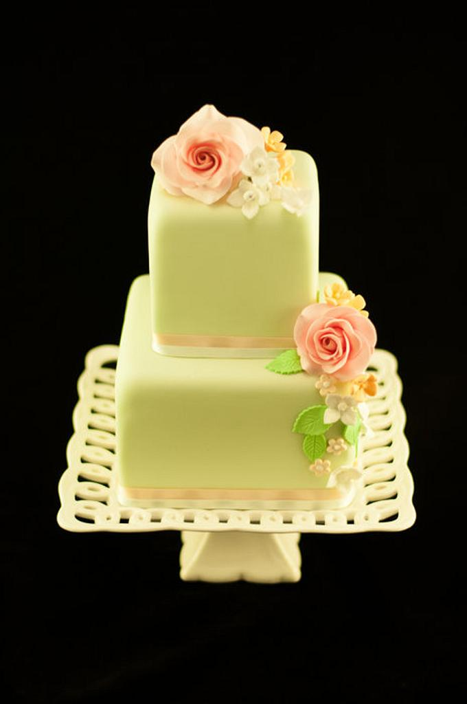 Small floral wedding cake by Kathryn