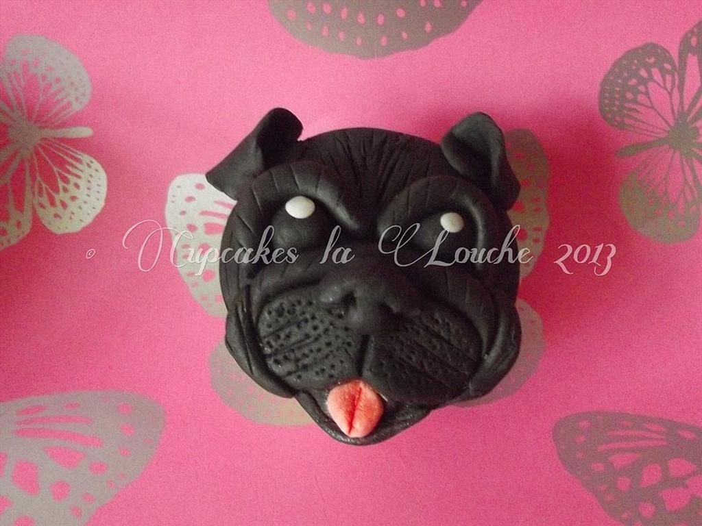 Black Pug Cupcake by Cupcakes la louche wedding & novelty cakes