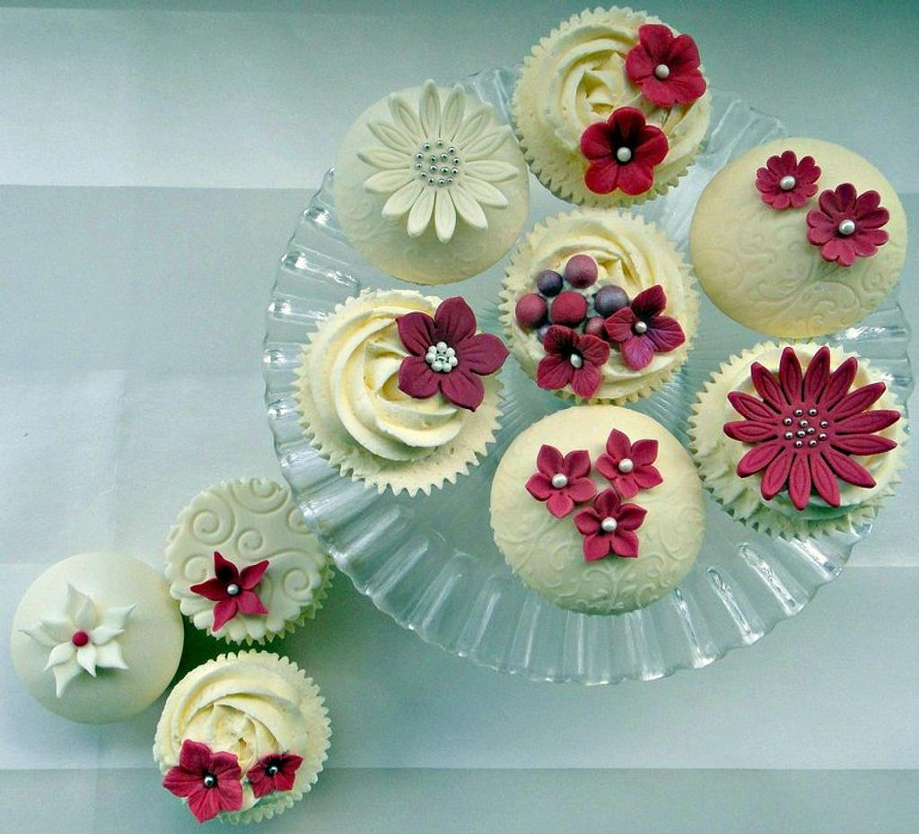 Fuschia and Ivory  by Truly Madly Sweetly Cupcakes