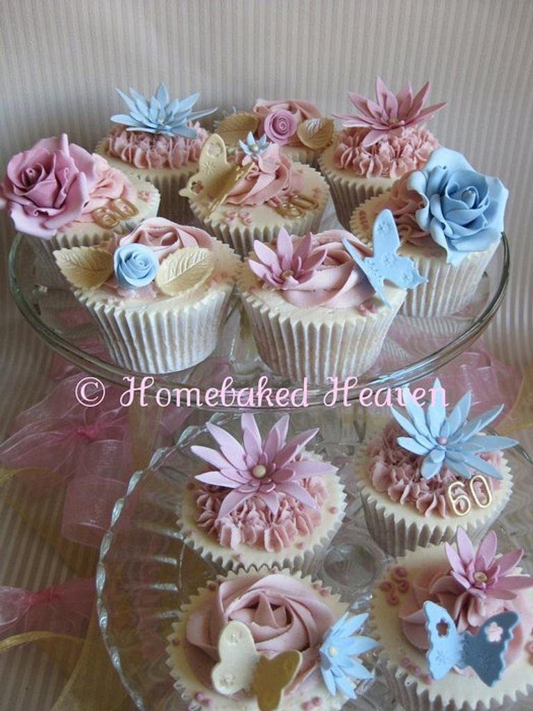 Dusky pink and blue birthday cupcakes by Amanda Earl Cake Design