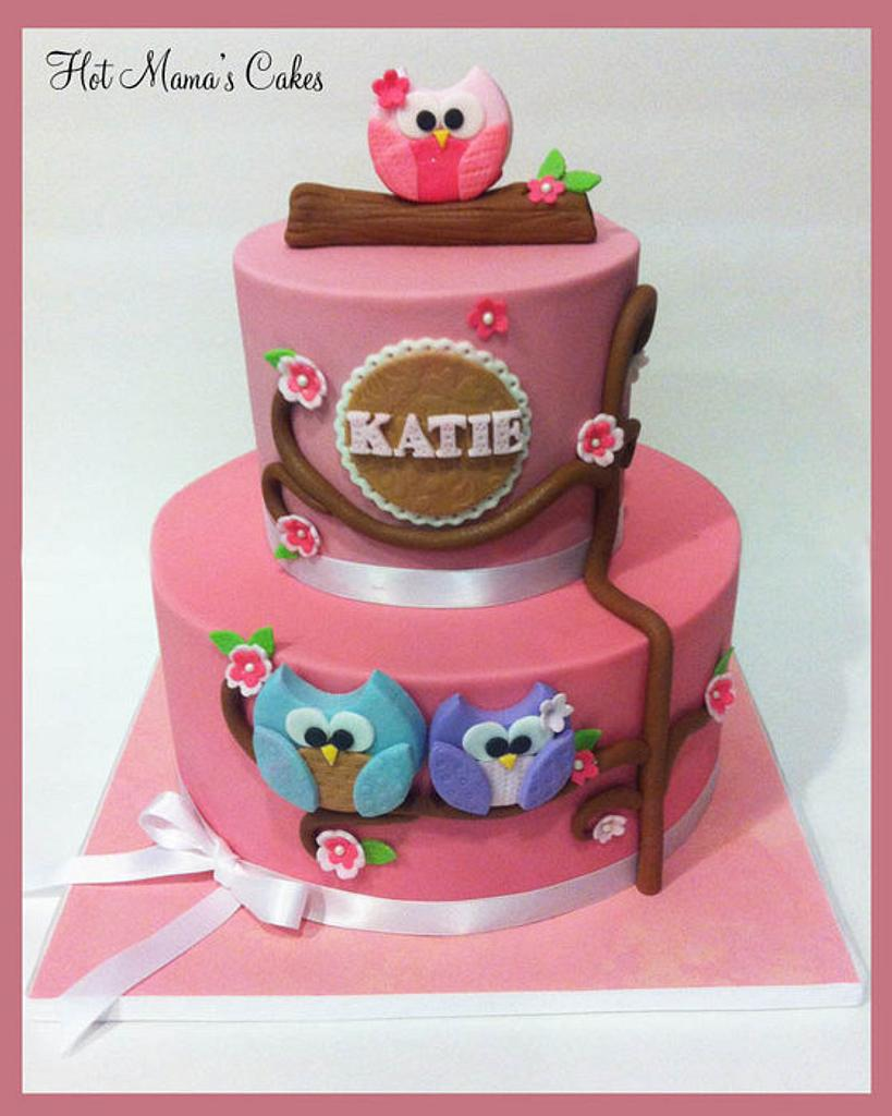 Owl Themed baby shower in pink! by Hot Mama's Cakes