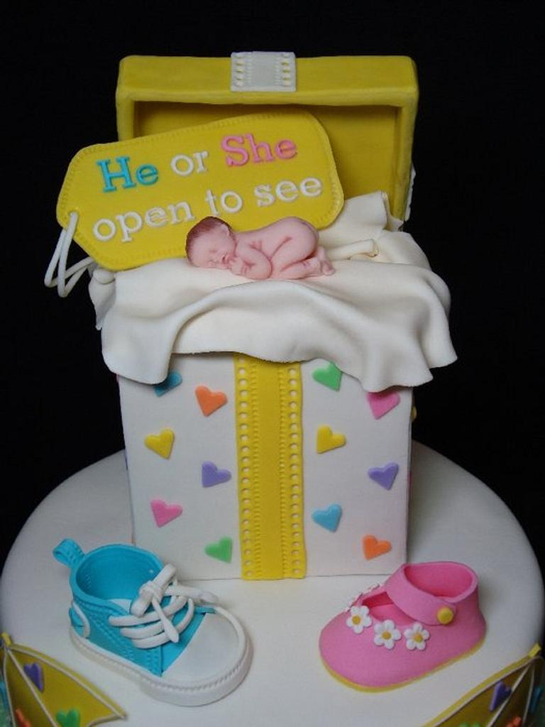 Gender Reveal Cake & Cupcake Tower by Toni (White Crafty Cakes)