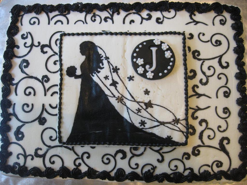 Black and White Bridal shower cake by Renee Daly