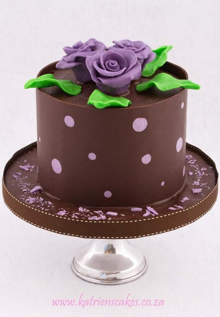 Dark Chocolate and Purple Polkadot Collar with Chocolate Roses by KatriensCakes