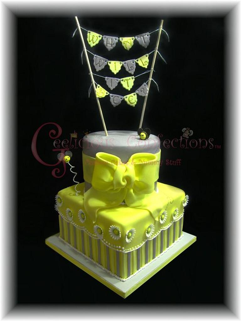 """Yellow and Grey Reveal Cake!  """"What will it Bee"""" by Geelicious Confections"""